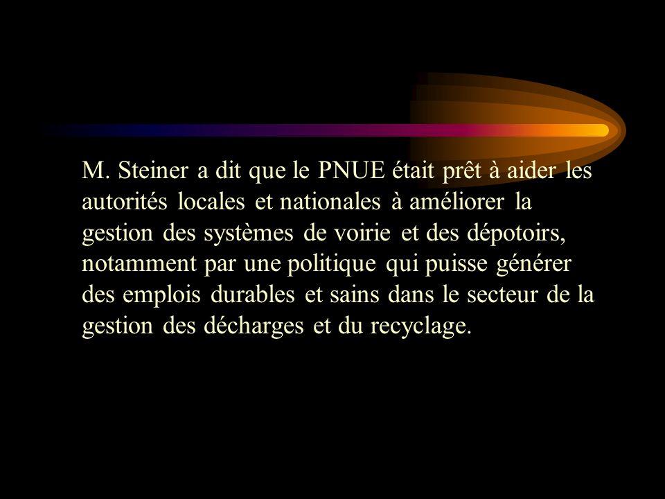 Achim Steiner, Sous- secrétaire général de l'ONU et directeur exécutif du PNUE, a dit: