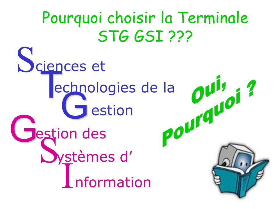 S ciences et T echnologies de la G estion S des ystèmes d nformation I Pourquoi choisir la Terminale STG GSI ??.