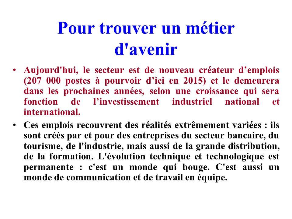 Pour trouver un métier d'avenir L'informatique fait travailler en France aujourd'hui environ 700 000 salariés, dans des sociétés de services et d'ingé