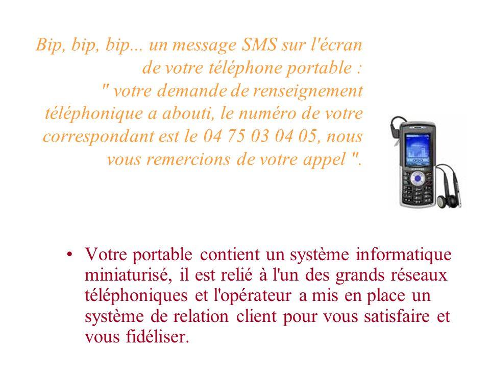 Votre portable contient un système informatique miniaturisé, il est relié à l un des grands réseaux téléphoniques et l opérateur a mis en place un système de relation client pour vous satisfaire et vous fidéliser.