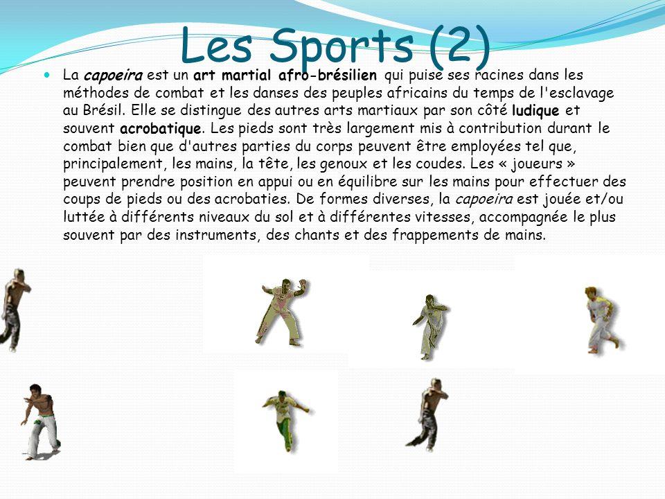 Les Sports (2) La capoeira est un art martial afro-brésilien qui puise ses racines dans les méthodes de combat et les danses des peuples africains du