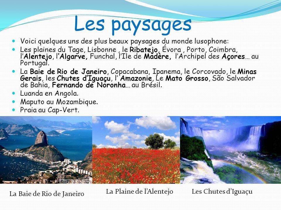 Les paysages Voici quelques uns des plus beaux paysages du monde lusophone: Les plaines du Tage, Lisbonne, le Ribatejo, Évora, Porto, Coimbra, lAlente