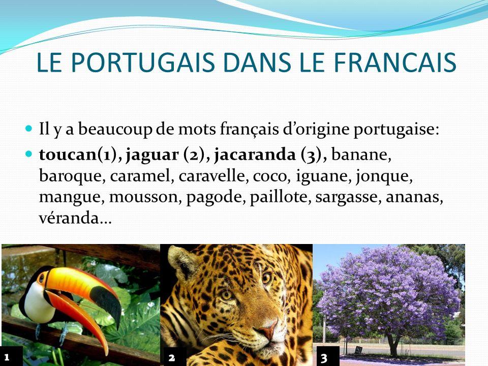 LE PORTUGAIS DANS LE FRANCAIS Il y a beaucoup de mots français dorigine portugaise: toucan(1), jaguar (2), jacaranda (3), banane, baroque, caramel, ca