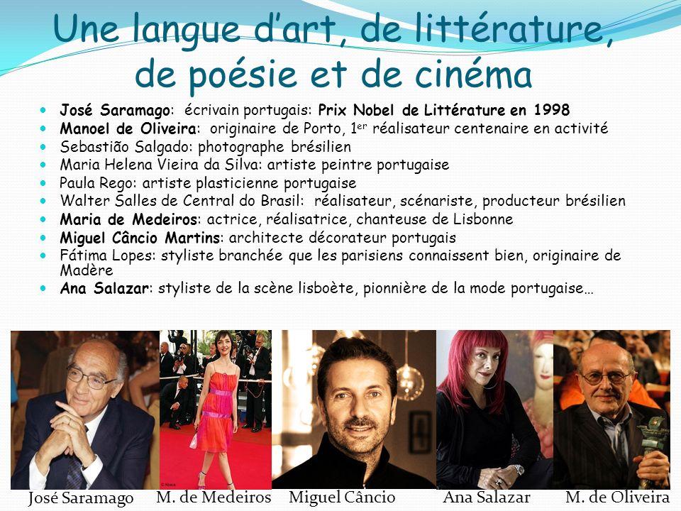 Une langue dart, de littérature, de poésie et de cinéma José Saramago: écrivain portugais: Prix Nobel de Littérature en 1998 Manoel de Oliveira: origi