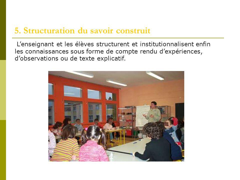 5. Structuration du savoir construit Lenseignant et les élèves structurent et institutionnalisent enfin les connaissances sous forme de compte rendu d