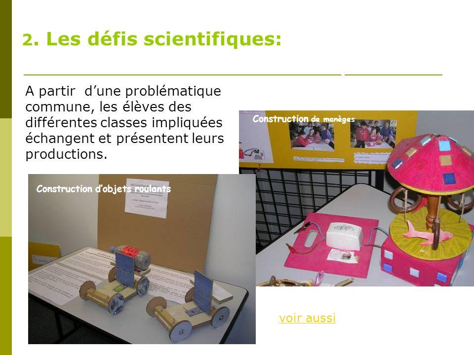 2. Les défis scientifiques: Construction dobjets roulants Construction dun manège A partir dune problématique commune, les élèves des différentes clas