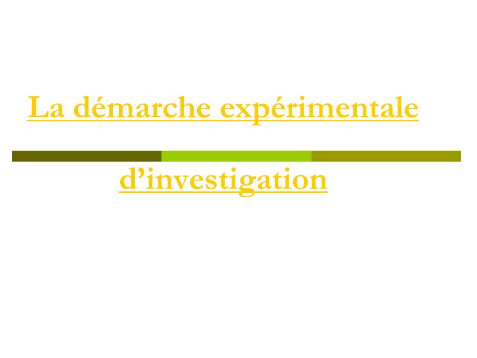 La démarche expérimentale dinvestigation