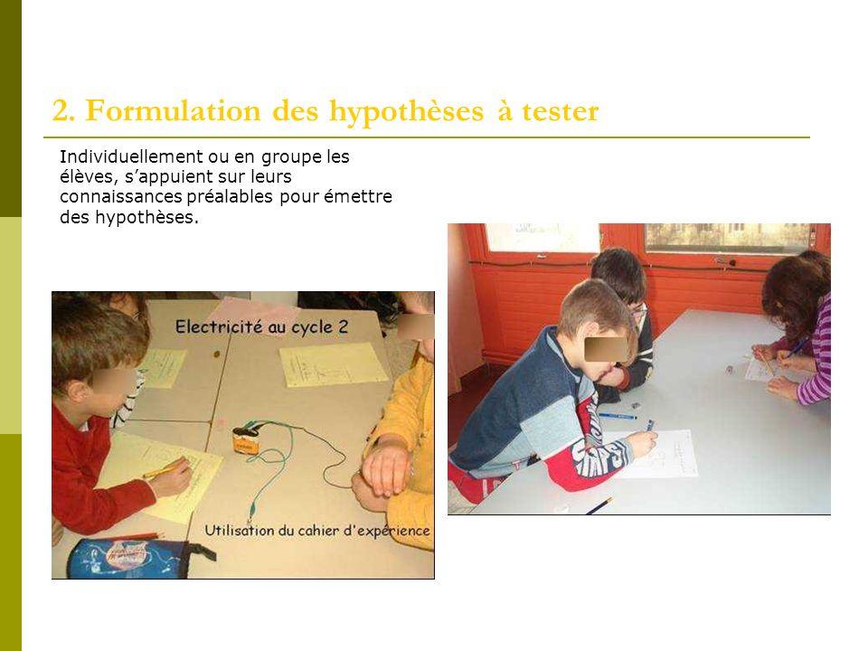 2. Formulation des hypothèses à tester Individuellement ou en groupe les élèves, sappuient sur leurs connaissances préalables pour émettre des hypothè