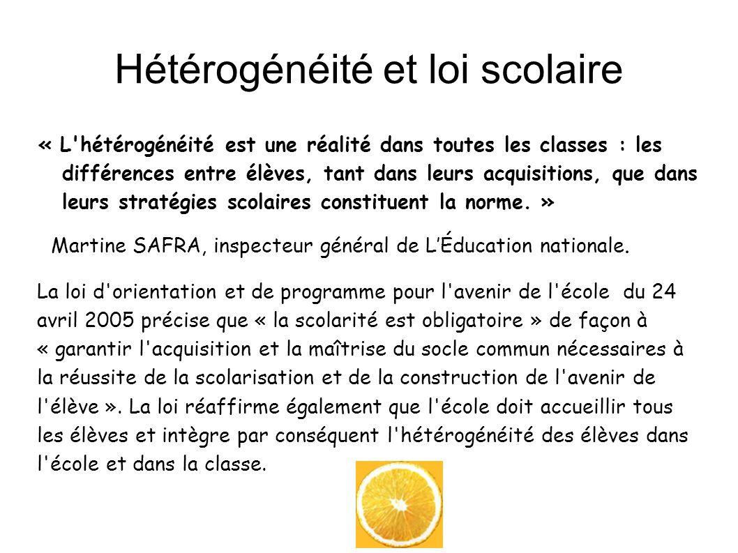 Hétérogénéité et loi scolaire « L'hétérogénéité est une réalité dans toutes les classes : les différences entre élèves, tant dans leurs acquisitions,