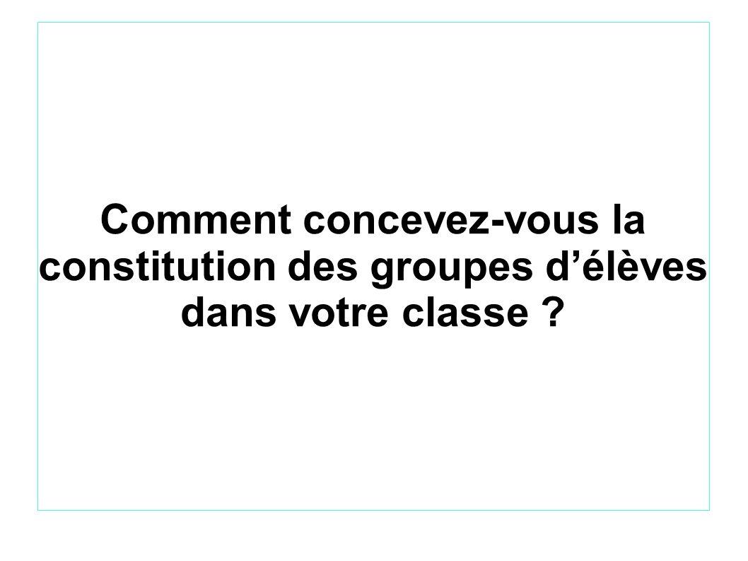 Comment concevez-vous la constitution des groupes délèves dans votre classe ?