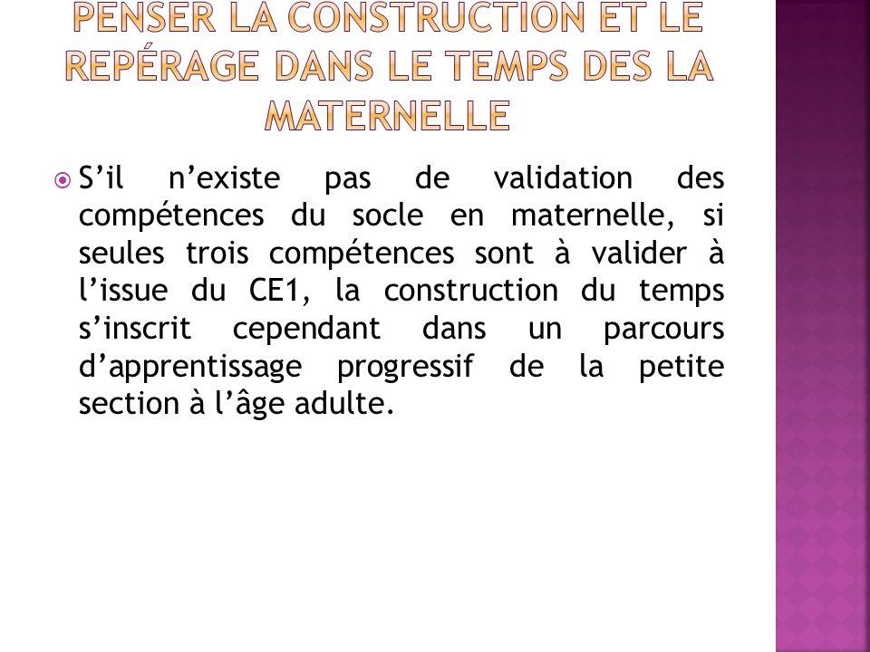 Sil nexiste pas de validation des compétences du socle en maternelle, si seules trois compétences sont à valider à lissue du CE1, la construction du temps sinscrit cependant dans un parcours dapprentissage progressif de la petite section à lâge adulte.