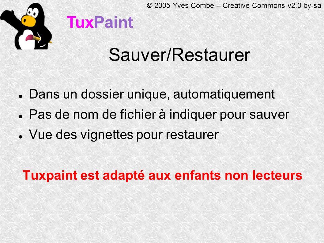 TuxPaint © 2005 Yves Combe – Creative Commons v2.0 by-sa Sauver/Restaurer Dans un dossier unique, automatiquement Pas de nom de fichier à indiquer pour sauver Vue des vignettes pour restaurer Tuxpaint est adapté aux enfants non lecteurs