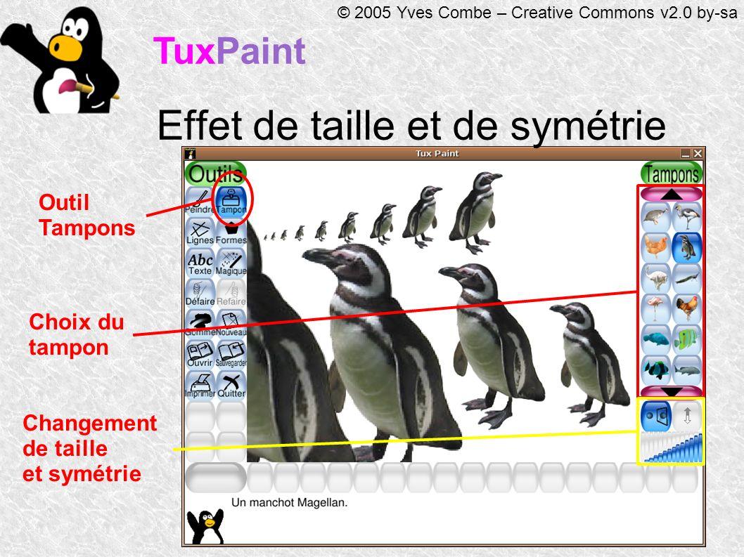 TuxPaint © 2005 Yves Combe – Creative Commons v2.0 by-sa Effet de taille et de symétrie Outil Tampons Choix du tampon Changement de taille et symétrie