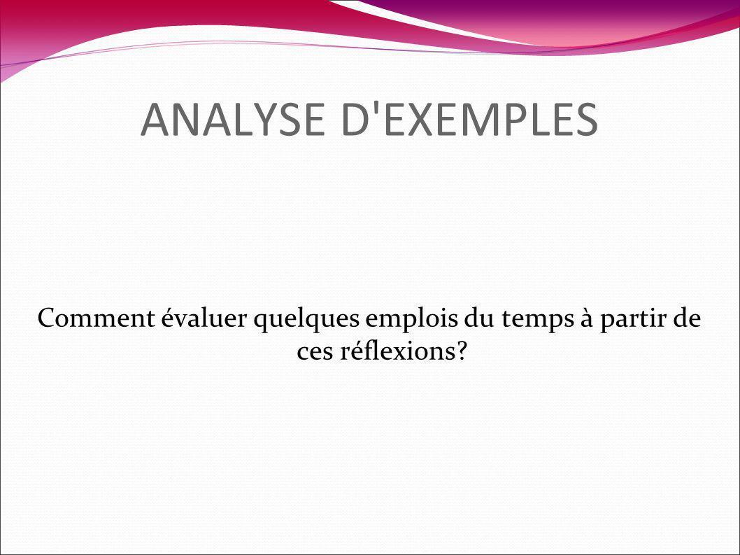 ANALYSE D'EXEMPLES Comment évaluer quelques emplois du temps à partir de ces réflexions?