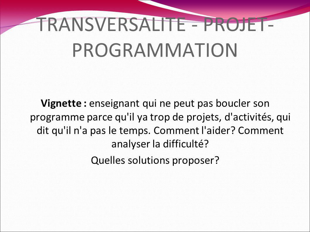 TRANSVERSALITE - PROJET- PROGRAMMATION Vignette : enseignant qui ne peut pas boucler son programme parce qu il ya trop de projets, d activités, qui dit qu il n a pas le temps.