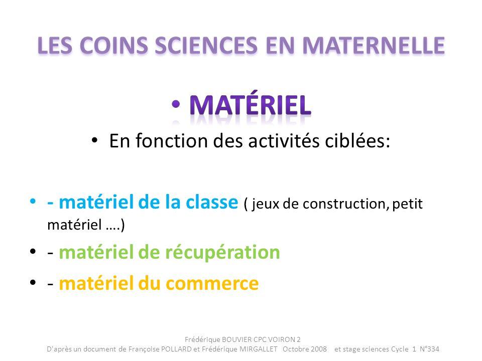 Frédérique BOUVIER CPC VOIRON 2 D après un document de Françoise POLLARD et Frédérique MIRGALLET Octobre 2008 et stage sciences Cycle 1 N°334