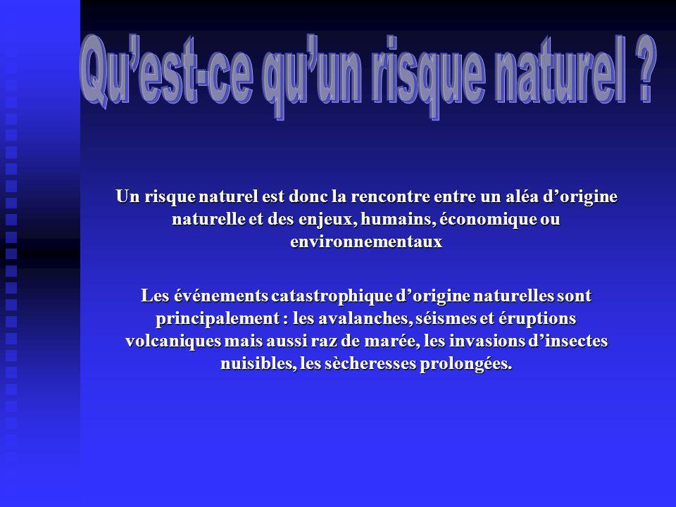 Un risque naturel est donc la rencontre entre un aléa dorigine naturelle et des enjeux, humains, économique ou environnementaux Les événements catastr