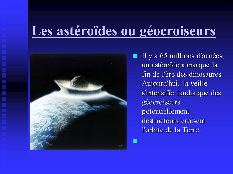 Les astéroïdes ou géocroiseurs Il y a 65 millions d'années, un astéroïde a marqué la fin de l'ère des dinosaures. Aujourd'hui, la veille s'intensifie