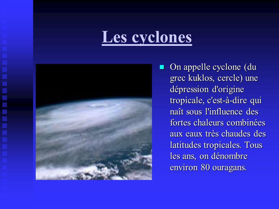 Les cyclones On appelle cyclone (du grec kuklos, cercle) une dépression d'origine tropicale, c'est-à-dire qui naît sous l'influence des fortes chaleur
