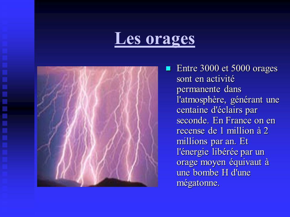Les orages Entre 3000 et 5000 orages sont en activité permanente dans l'atmosphère, générant une centaine d'éclairs par seconde. En France on en recen