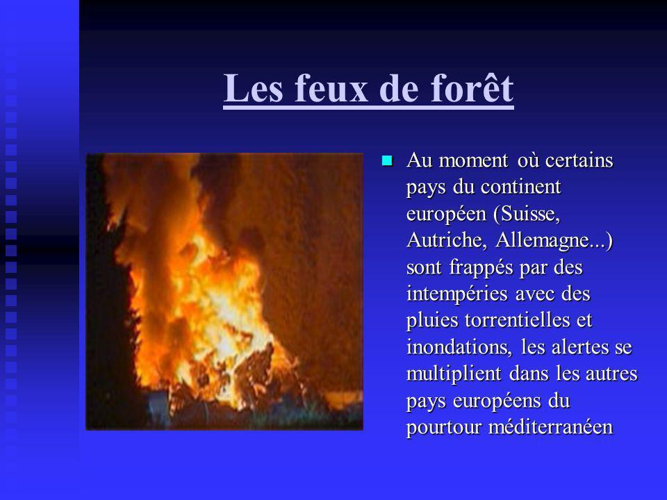 Les feux de forêt Au moment où certains pays du continent européen (Suisse, Autriche, Allemagne...) sont frappés par des intempéries avec des pluies t