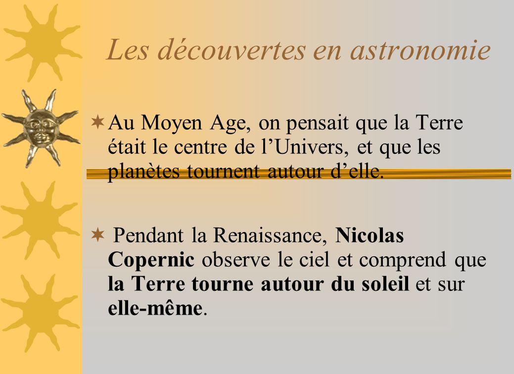 Les découvertes en astronomie Au Moyen Age, on pensait que la Terre était le centre de lUnivers, et que les planètes tournent autour delle. Pendant la