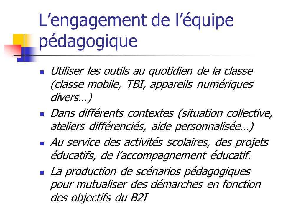 Lengagement de léquipe pédagogique Utiliser les outils au quotidien de la classe (classe mobile, TBI, appareils numériques divers…) Dans différents co