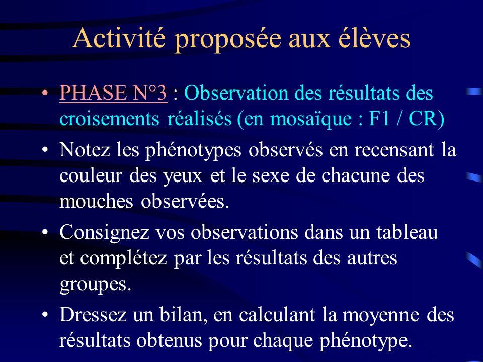 Activité proposée aux élèves PHASE N°3 : Observation des résultats des croisements réalisés (en mosaïque : F1 / CR) Notez les phénotypes observés en r