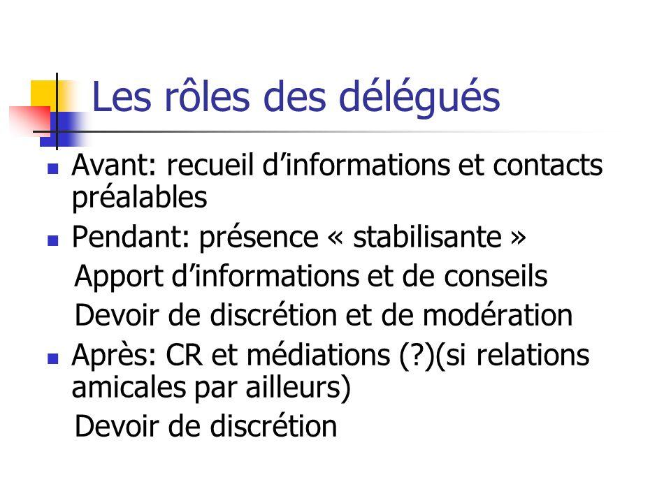Les rôles des délégués Avant: recueil dinformations et contacts préalables Pendant: présence « stabilisante » Apport dinformations et de conseils Devo