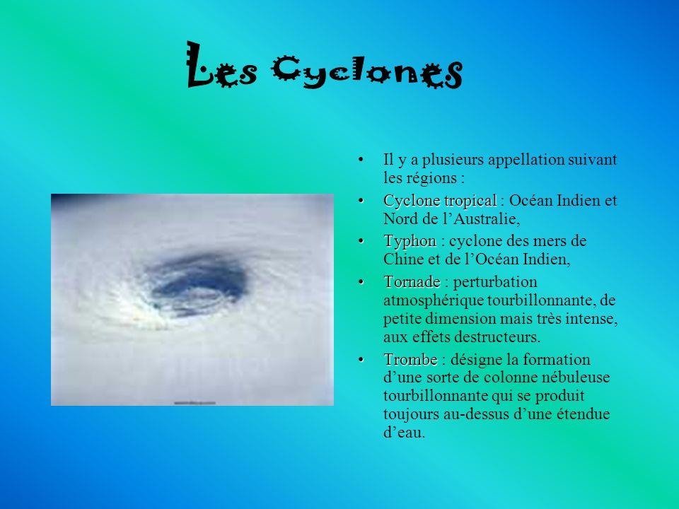 Il y a plusieurs appellation suivant les régions : CycloneCyclone tropical tropical : Océan Indien et Nord de lAustralie, TyphonTyphon : cyclone des m