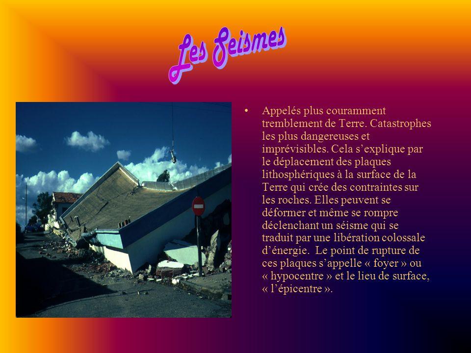 Appelés plus couramment tremblement de Terre. Catastrophes les plus dangereuses et imprévisibles. Cela sexplique par le déplacement des plaques lithos