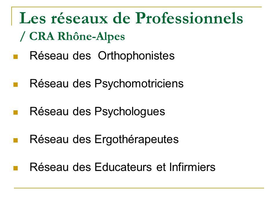 Les réseaux de Professionnels / CRA Rhône-Alpes Réseau des Orthophonistes Réseau des Psychomotriciens Réseau des Psychologues Réseau des Ergothérapeut