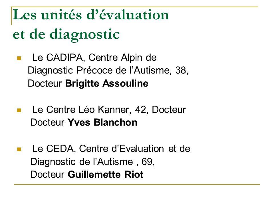 Les unités dévaluation et de diagnostic Le CADIPA, Centre Alpin de Diagnostic Précoce de lAutisme, 38, Docteur Brigitte Assouline Le Centre Léo Kanner