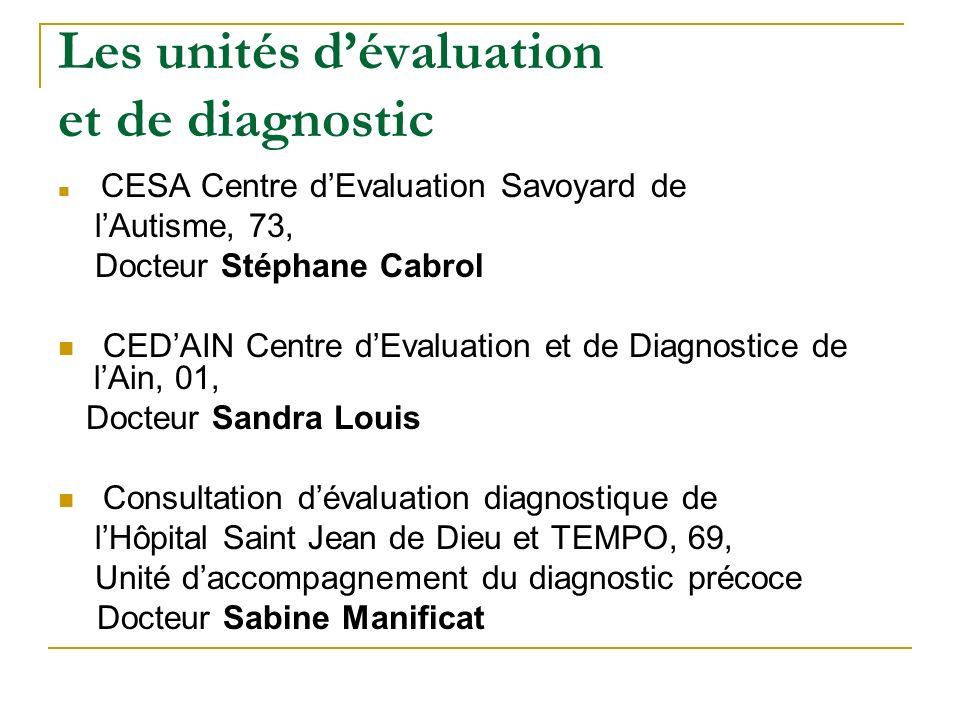 Les unités dévaluation et de diagnostic CESA Centre dEvaluation Savoyard de lAutisme, 73, Docteur Stéphane Cabrol CEDAIN Centre dEvaluation et de Diag