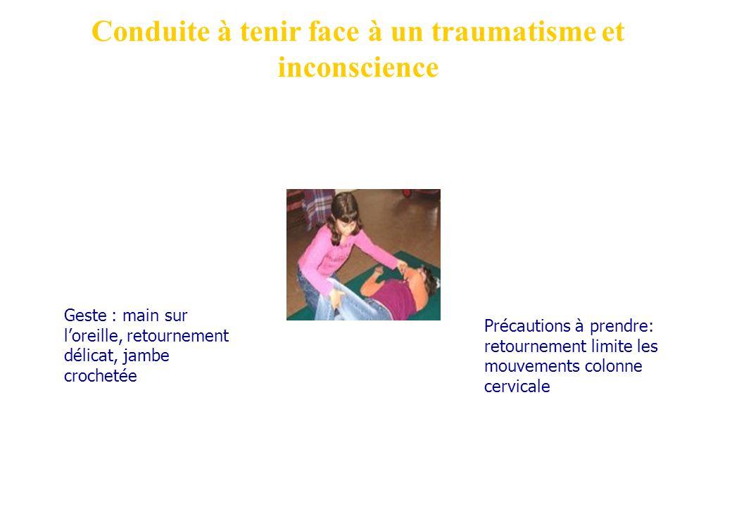 Conduite à tenir face à un traumatisme et inconscience Précautions à prendre: retournement limite les mouvements colonne cervicale Geste : main sur lo