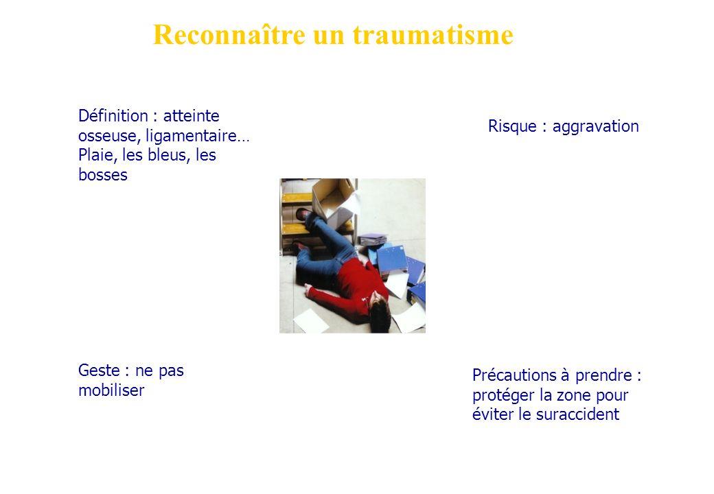 Reconnaître un traumatisme Définition : atteinte osseuse, ligamentaire… Plaie, les bleus, les bosses Précautions à prendre : protéger la zone pour évi
