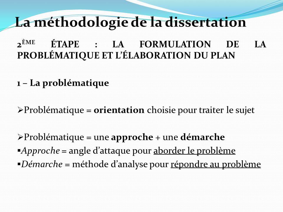 La méthodologie de la dissertation 2 ÈME ÉTAPE : LA FORMULATION DE LA PROBLÉMATIQUE ET LÉLABORATION DU PLAN 1 – La problématique Problématique = orien