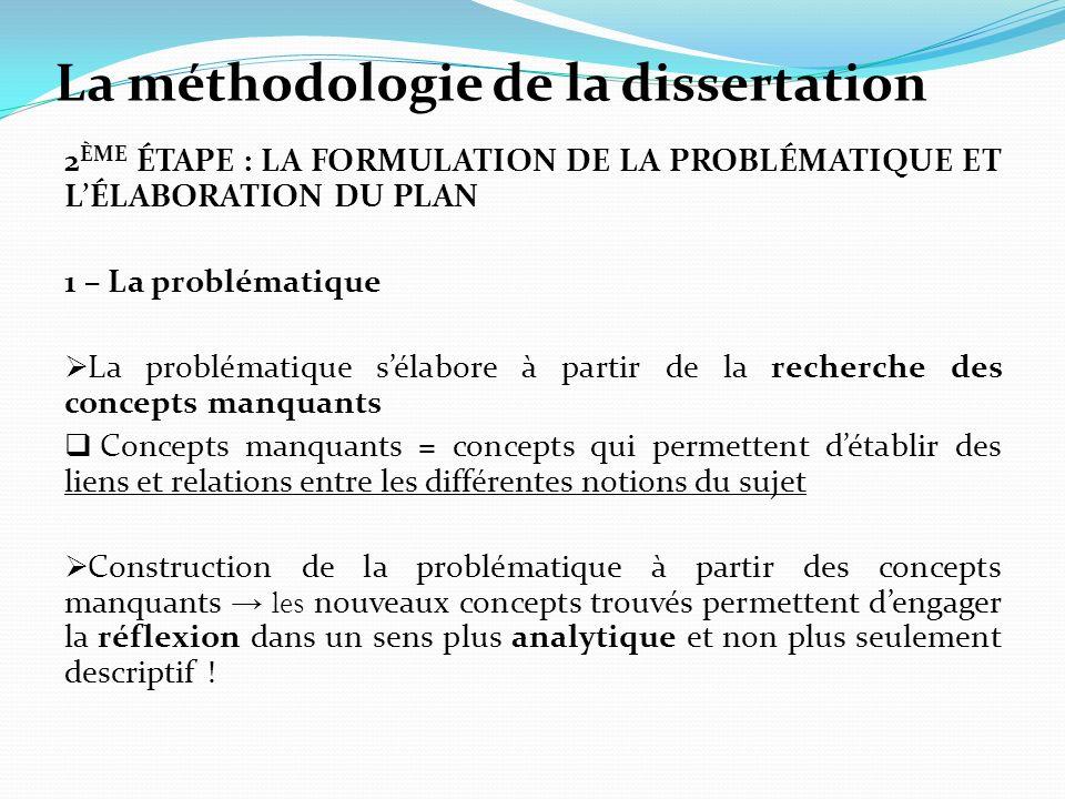 La méthodologie de la dissertation 2 ÈME ÉTAPE : LA FORMULATION DE LA PROBLÉMATIQUE ET LÉLABORATION DU PLAN 1 – La problématique La problématique séla