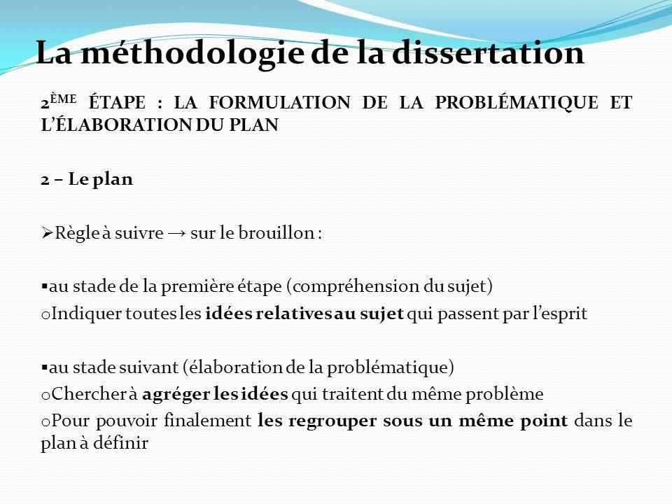 La méthodologie de la dissertation 2 ÈME ÉTAPE : LA FORMULATION DE LA PROBLÉMATIQUE ET LÉLABORATION DU PLAN 2 – Le plan Règle à suivre sur le brouillo