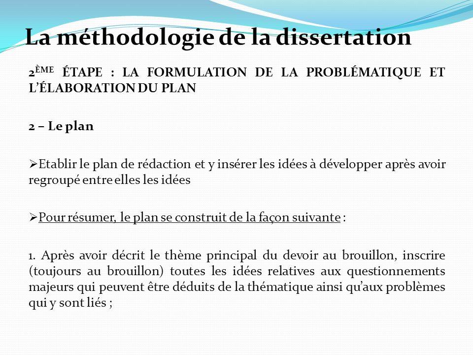 La méthodologie de la dissertation 2 ÈME ÉTAPE : LA FORMULATION DE LA PROBLÉMATIQUE ET LÉLABORATION DU PLAN 2 – Le plan Etablir le plan de rédaction e