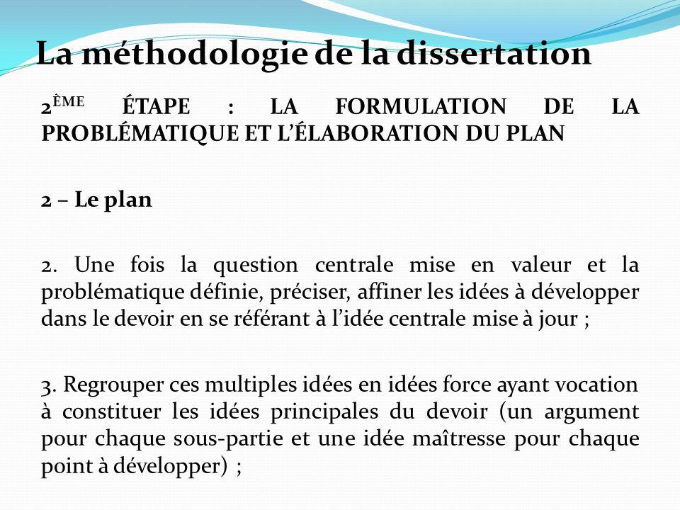 La méthodologie de la dissertation 2 ÈME ÉTAPE : LA FORMULATION DE LA PROBLÉMATIQUE ET LÉLABORATION DU PLAN 2 – Le plan 2. Une fois la question centra