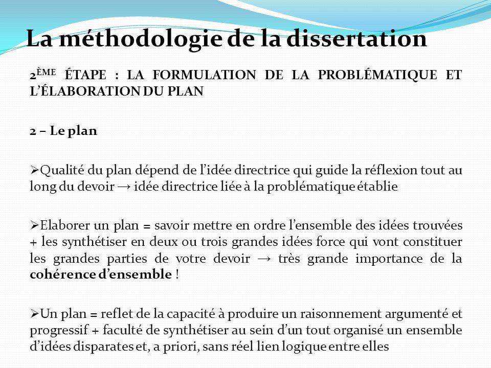 La méthodologie de la dissertation 2 ÈME ÉTAPE : LA FORMULATION DE LA PROBLÉMATIQUE ET LÉLABORATION DU PLAN 2 – Le plan Qualité du plan dépend de lidé