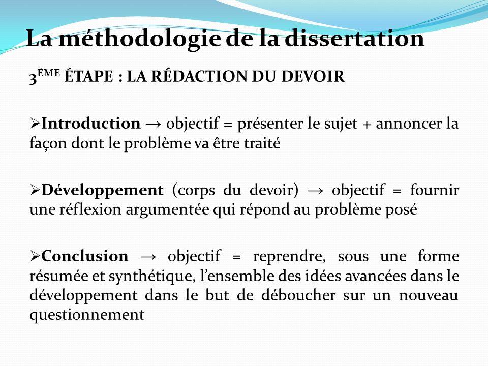La méthodologie de la dissertation 3 ÈME ÉTAPE : LA RÉDACTION DU DEVOIR Introduction objectif = présenter le sujet + annoncer la façon dont le problèm