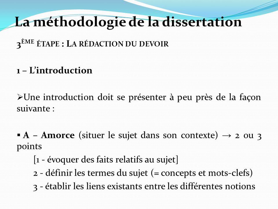 La méthodologie de la dissertation 3 ÈME ÉTAPE : L A RÉDACTION DU DEVOIR 1 – Lintroduction Une introduction doit se présenter à peu près de la façon s