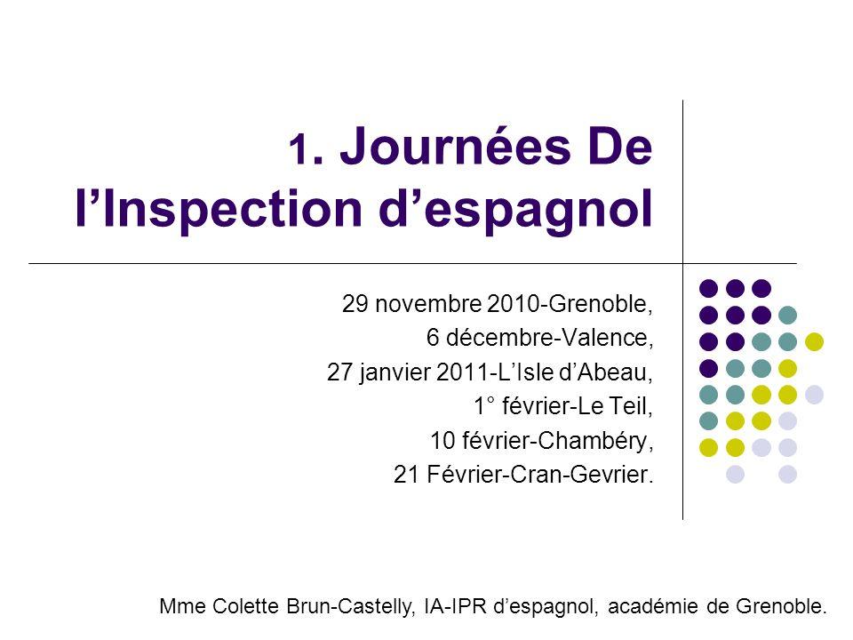 1. Journées De lInspection despagnol 29 novembre 2010-Grenoble, 6 décembre-Valence, 27 janvier 2011-LIsle dAbeau, 1° février-Le Teil, 10 février-Chamb