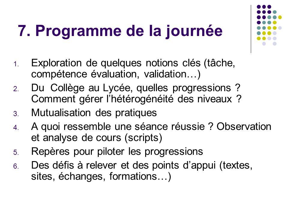 7. Programme de la journée 1. Exploration de quelques notions clés (tâche, compétence évaluation, validation…) 2. Du Collège au Lycée, quelles progres