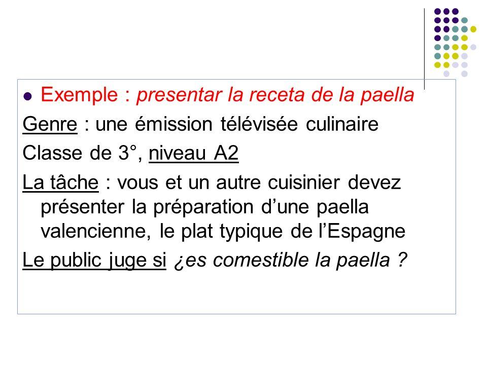 Exemple : presentar la receta de la paella Genre : une émission télévisée culinaire Classe de 3°, niveau A2 La tâche : vous et un autre cuisinier deve