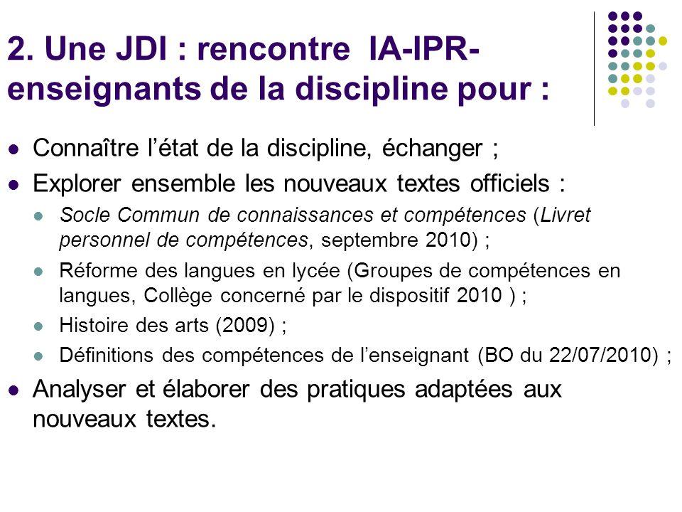 2. Une JDI : rencontre IA-IPR- enseignants de la discipline pour : Connaître létat de la discipline, échanger ; Explorer ensemble les nouveaux textes