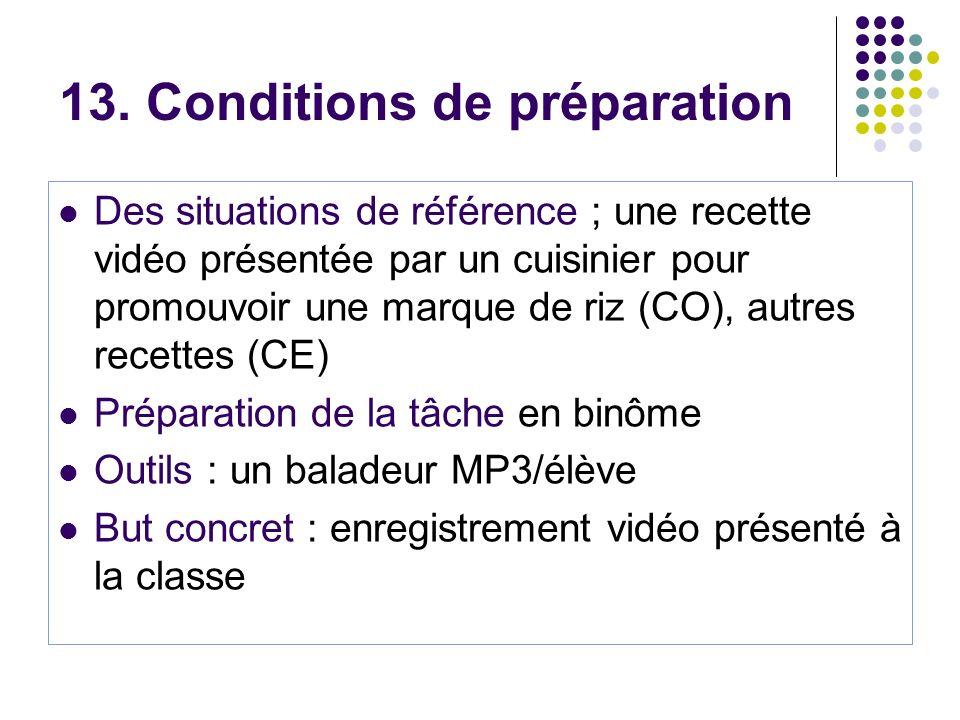 13. Conditions de préparation Des situations de référence ; une recette vidéo présentée par un cuisinier pour promouvoir une marque de riz (CO), autre