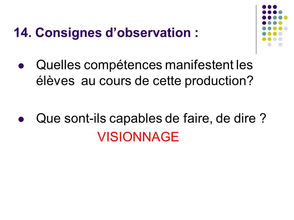 14. Consignes dobservation : Quelles compétences manifestent les élèves au cours de cette production? Que sont-ils capables de faire, de dire ? VISION